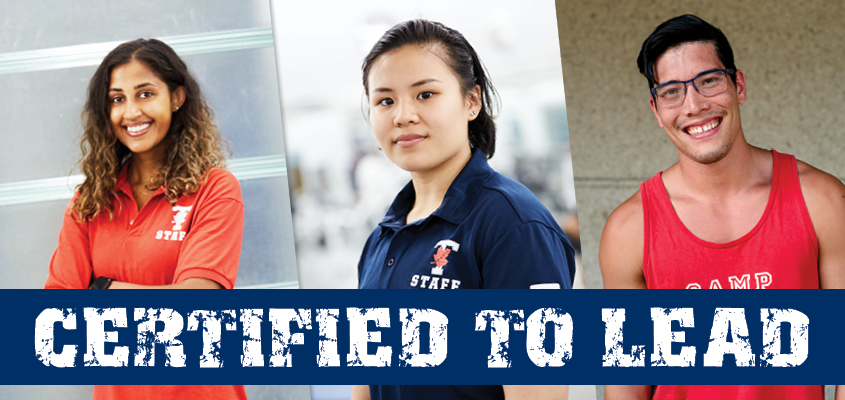 three young adults in staff uniforms with 'certified to lead' tagline overlaid
