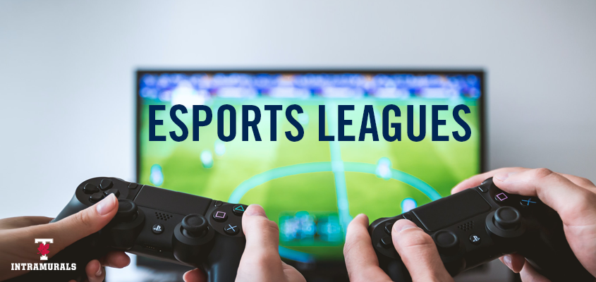 Two people holding playstation controllers and playing virtual soccer game with overlaid text: esports leagues