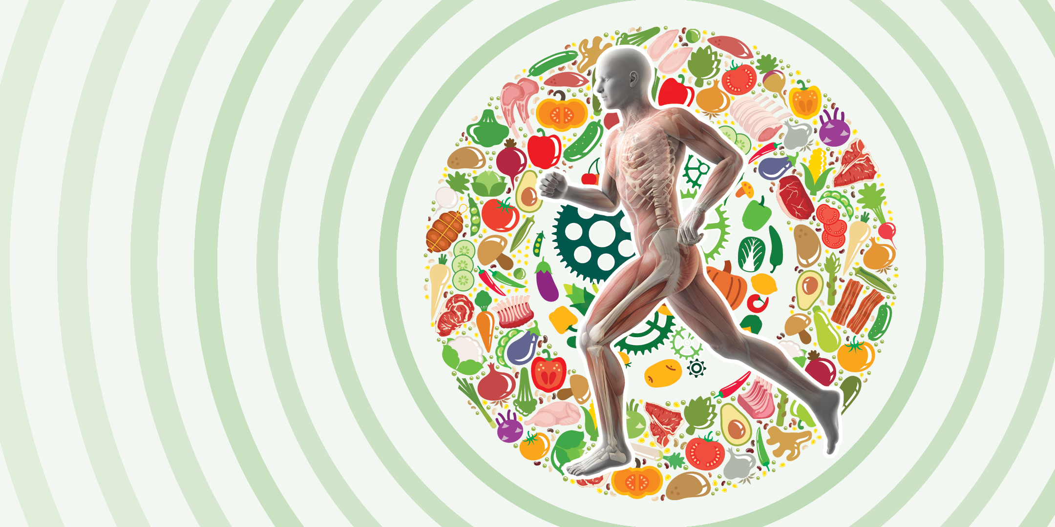 illustration of human jogging surrounded by fruits and vegetables