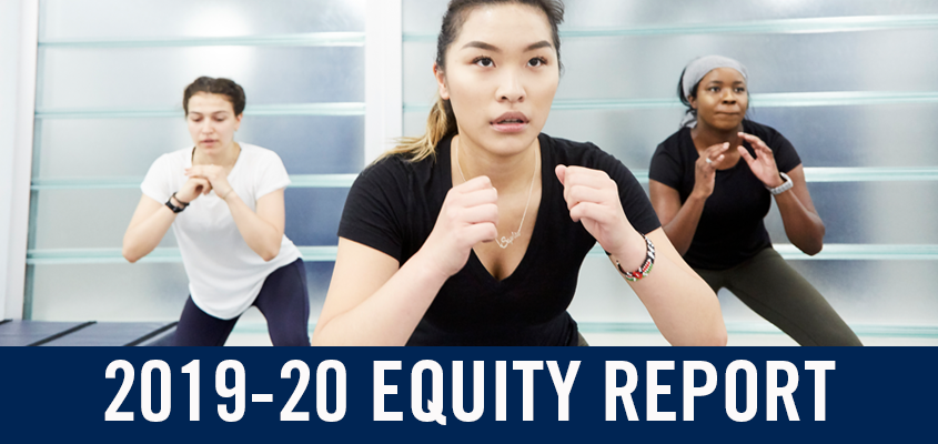three racialized women with overlaid text: 2019-20 equity report