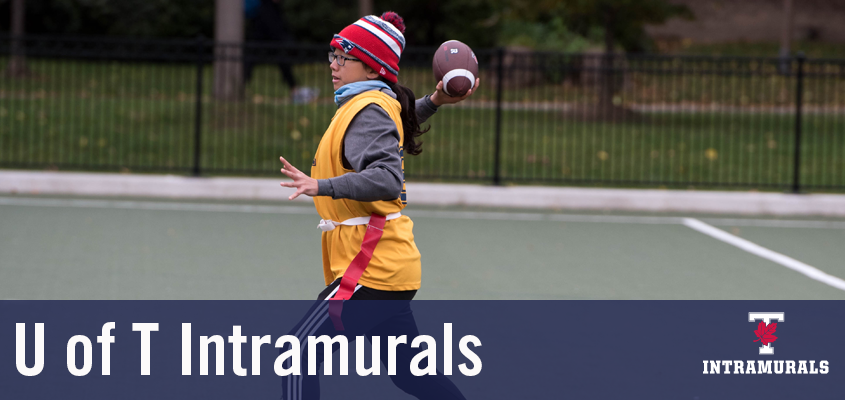 female student throwing football. overlaid text says U of T intramurals