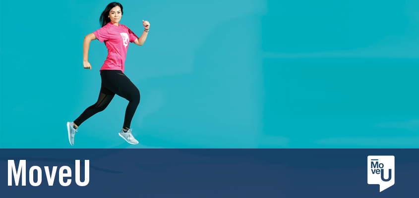 woman jumping against blue background. overlaid text says MoveU.