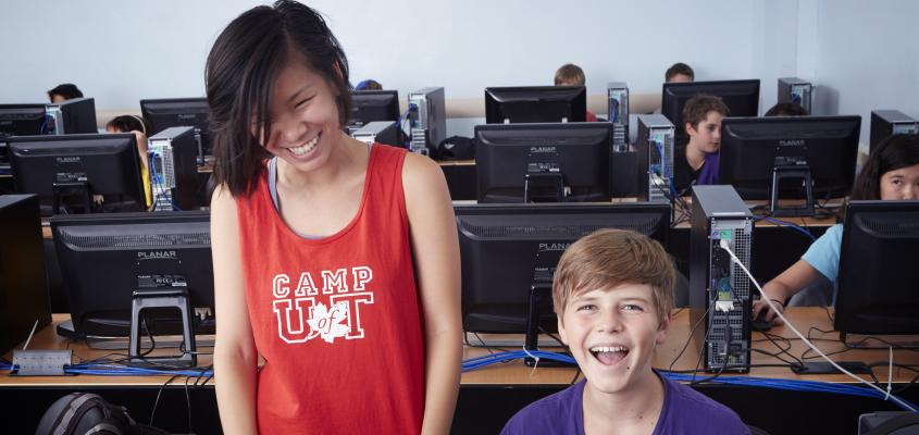 Campers learning to Build their own video games.