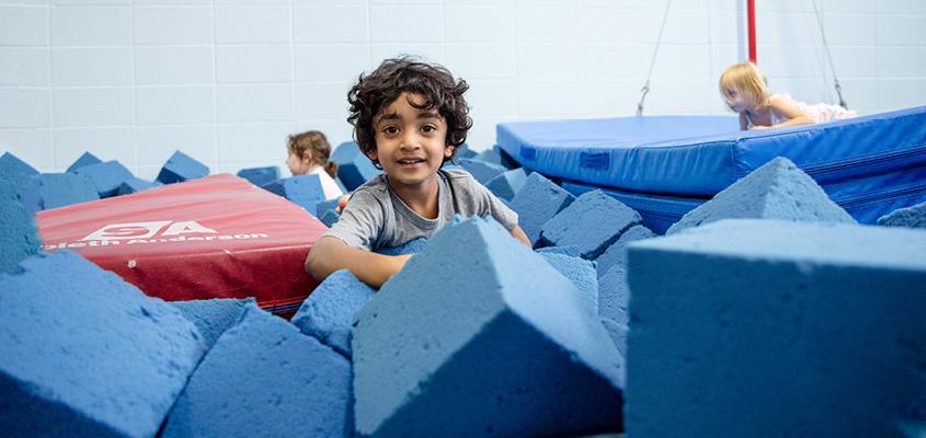 child in foam pit