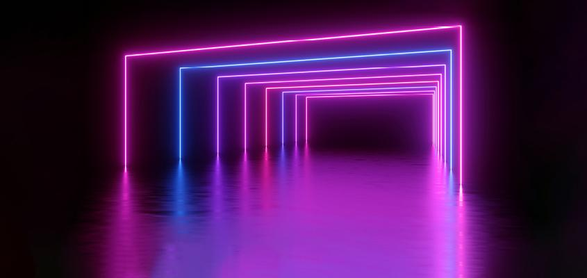 Image of glowing neon rectangles