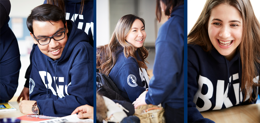 three panel image featuring students of different ethnicities wearing branded BKin hoodies