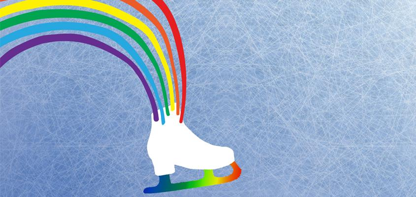A Skate with Rainbows coming out of the top and a rainbow blade