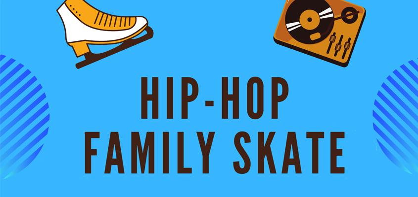 illustration of skates and turntable with text: Hip hop family skate