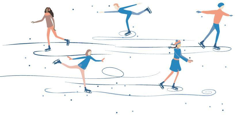 illustration of figures ice skating in the snow
