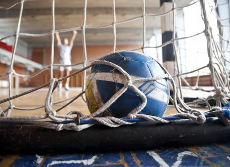 handball ball and net