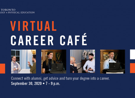 photos from past career cafe events with text: virtual career cafe