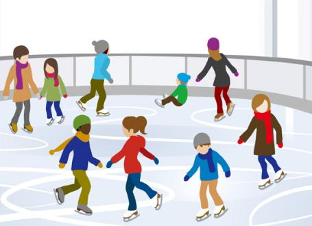 illustration of adults and children ice skating