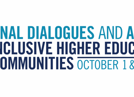 graphic with stylized text: national dialogues and action for inclusive higher education and communities - october 1 & 2, 2020