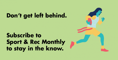 illustration of female athlete playing flag football with text: don't get left behind. subscribe to sport & rec monthly to stay in the know.